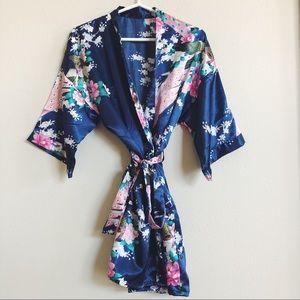 Other - Blue Floral Print Kimono Robe